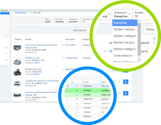 Platforma B2B - kolejność towarów na listach