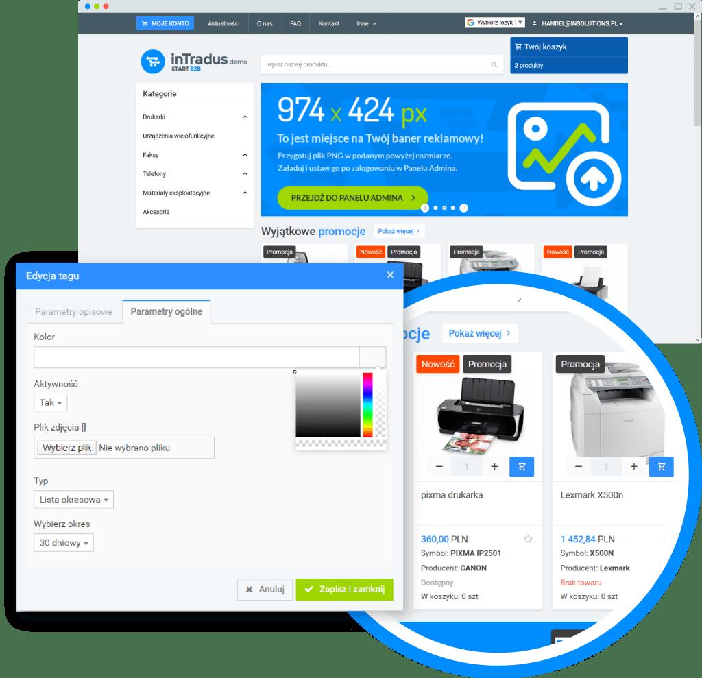 Możliwości platformy B2B - statusy produktów