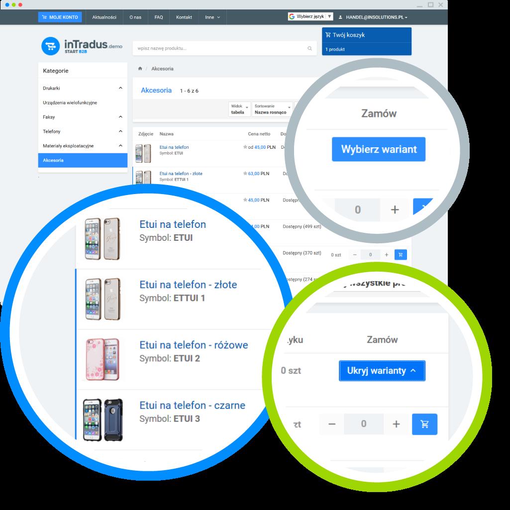 Możliwości platformy B2B - warianty produktów